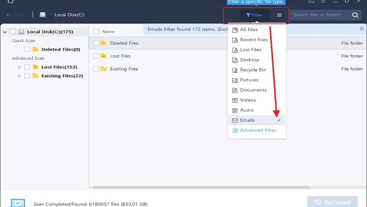 search a specified file extension